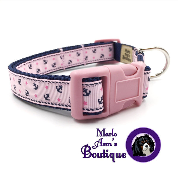 Pink Anchors Dog Collar