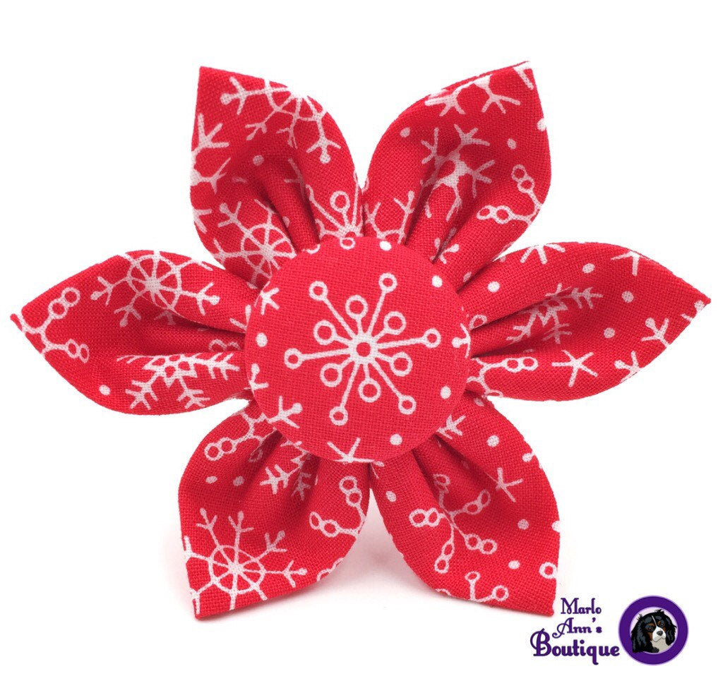 Red & White Snowflake Flower