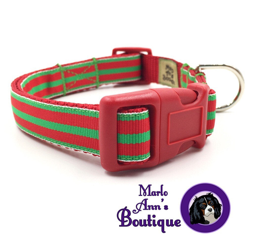 Red & Green Striped Dog Collar