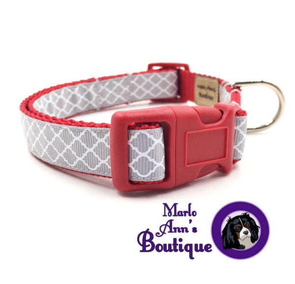 Gray & White Quatrefoil Dog Collar