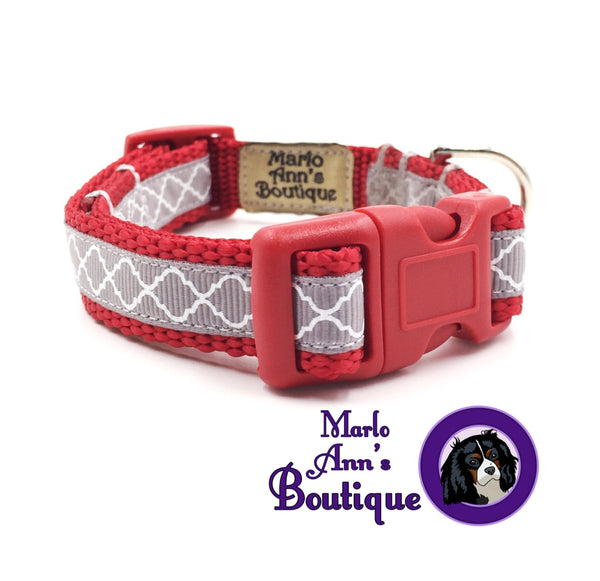 XS / Puppy Scarlet & Gray Dog Collar