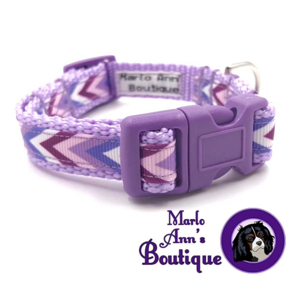 XS / Puppy Purple Chevron Dog Collar