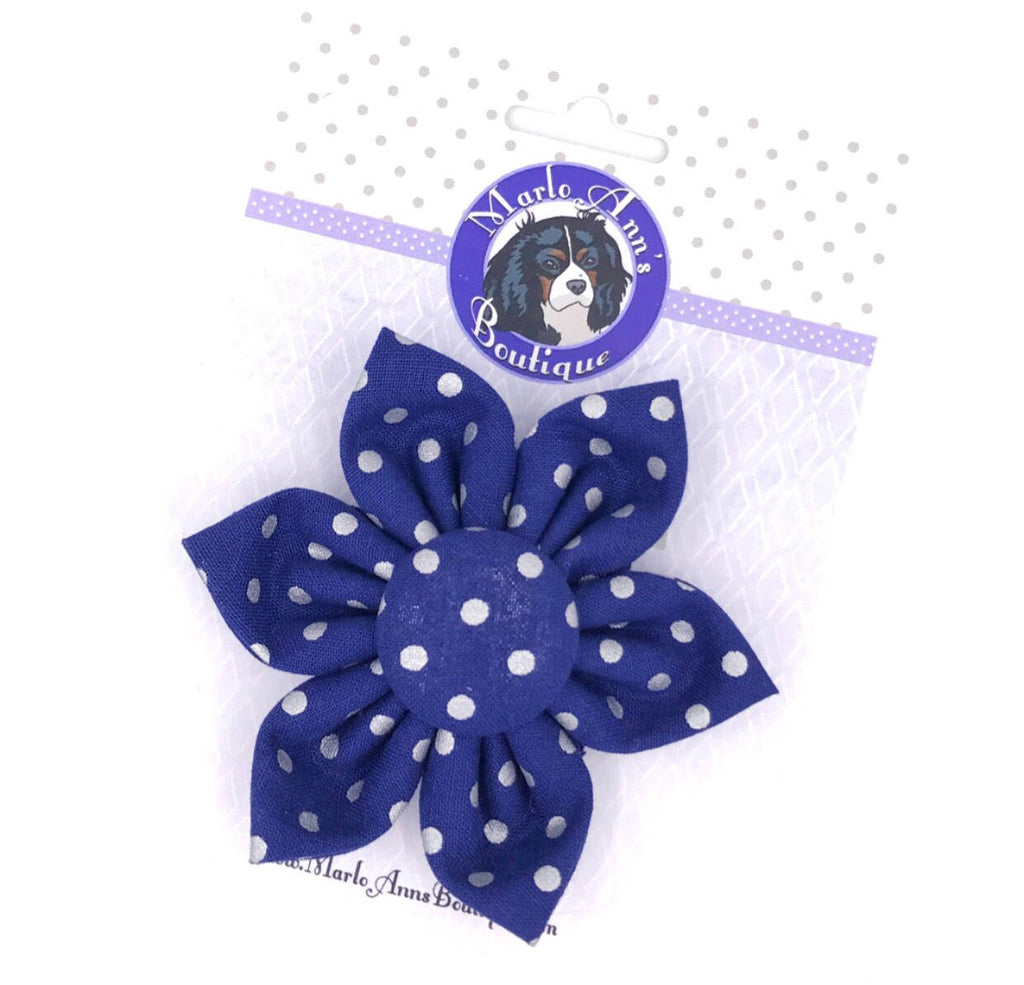 Navy with Silver Foil Polka Dots Flower