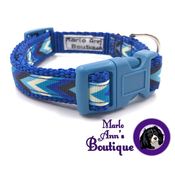 XS / Puppy Blue Chevron Dog Collar