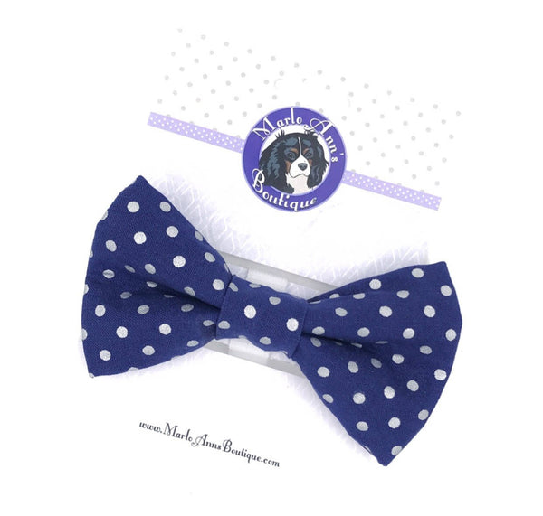 Navy with Silver Foil Polka Dot Bow Tie