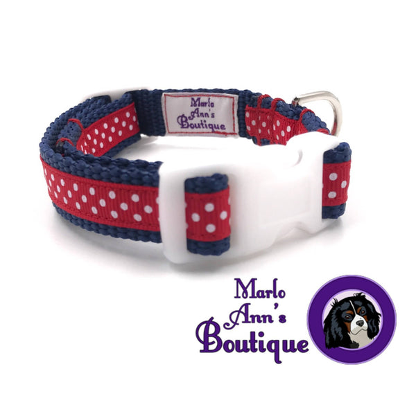 XS / Puppy Patriotic Polka Dot Dog Collar