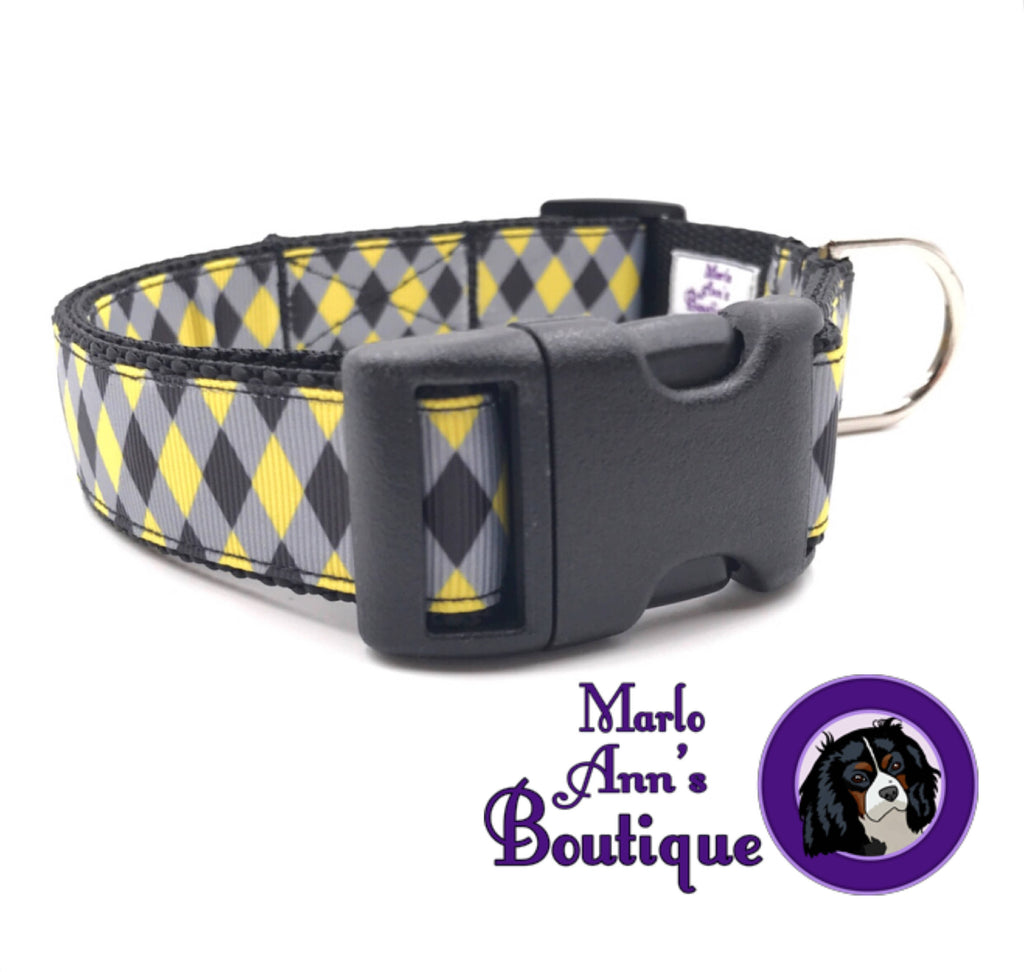 Black & Yellow Argyle Dog Collar
