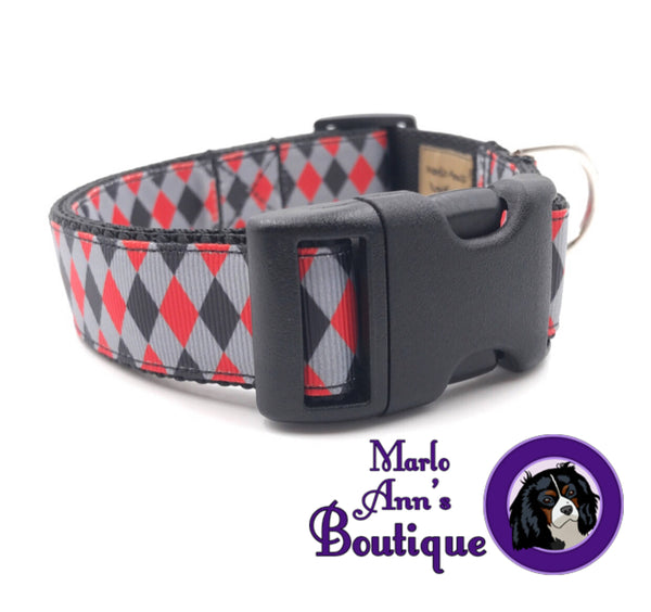 Black & Red Argyle Dog Collar
