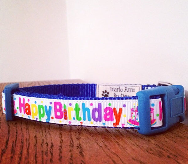 Blue Happy Birthday Dog Collar