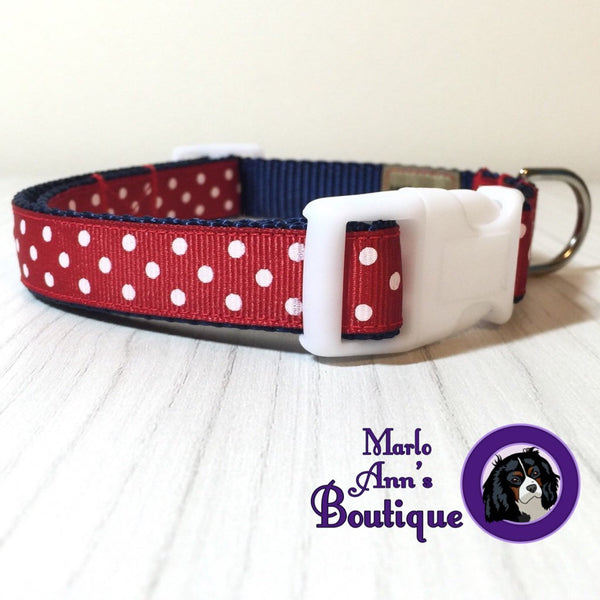 Patriotic Polka Dot Dog Collar