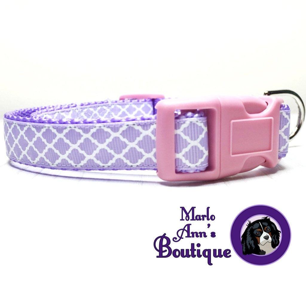 Spring Purple Quatrefoil Dog Collar
