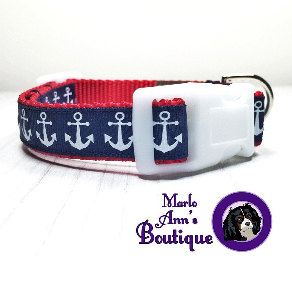 Patriotic Anchor Dog Collar