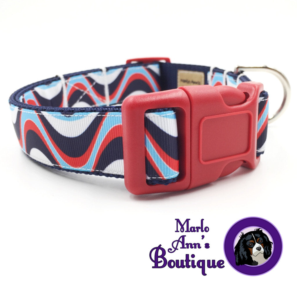 Patriotic Waves Dog Collar