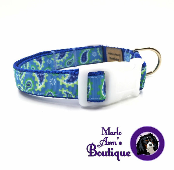 Blue Paisley Dog Collar