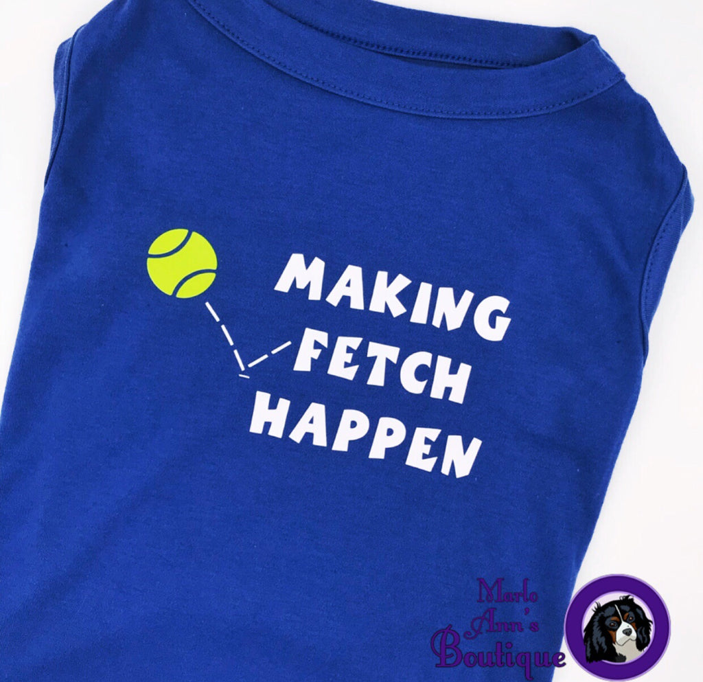 Making Fetch Happen Blue Pup Tee