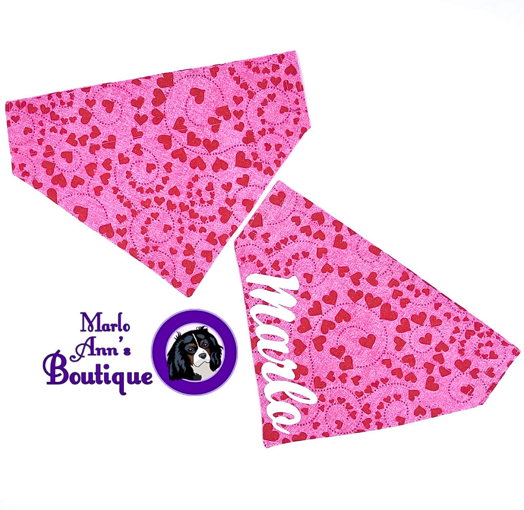 Pink Valentine's Day Heart Dog Bandana