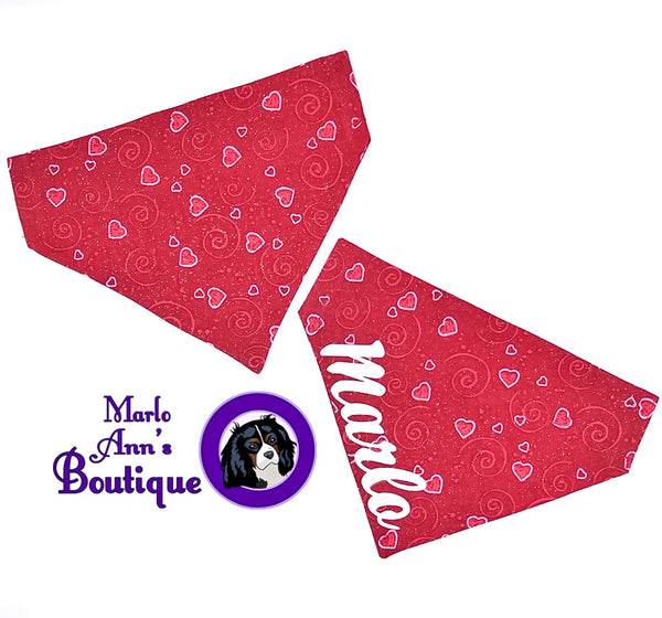 Red Valentine's Day Heart Dog Bandana