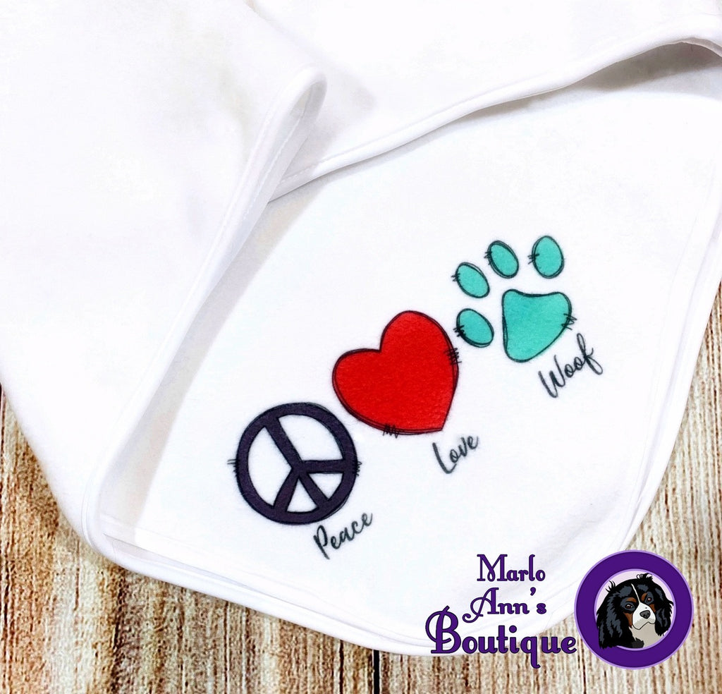 Peace, Love, Woof Dog Blanket