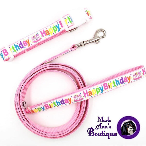 Pink Happy Birthday Dog Collar