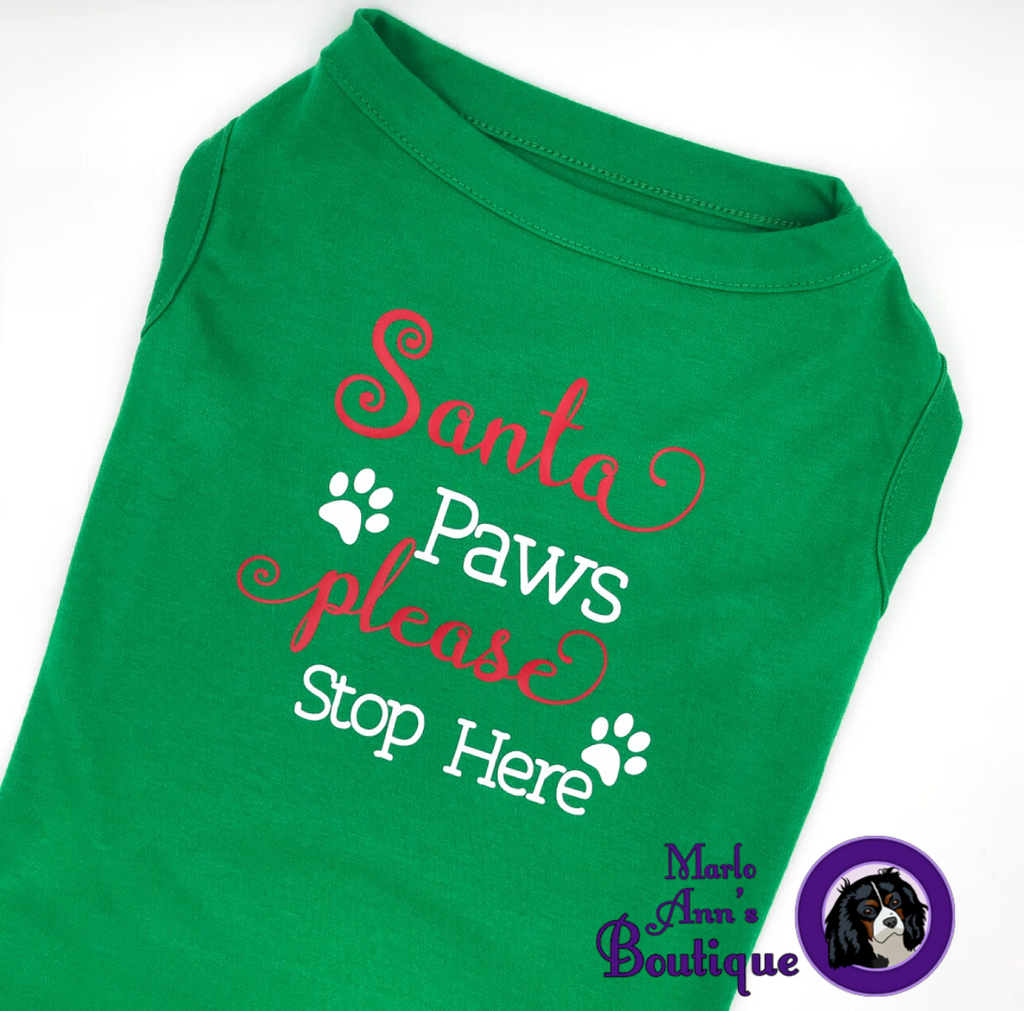 Santa Paws Please Stop Here Pup Tee