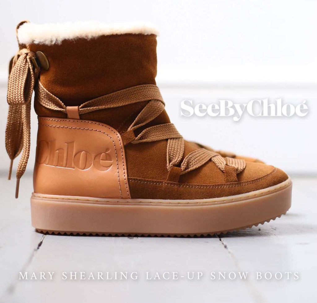 Mary Shearling Lace-Up Snow Boots by SEE BY CHLOE designer autumn