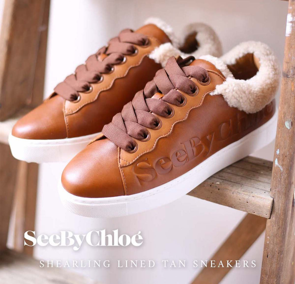 Shearling Lined Tan Sneakers SEE BY CHLOE Autumn footwear