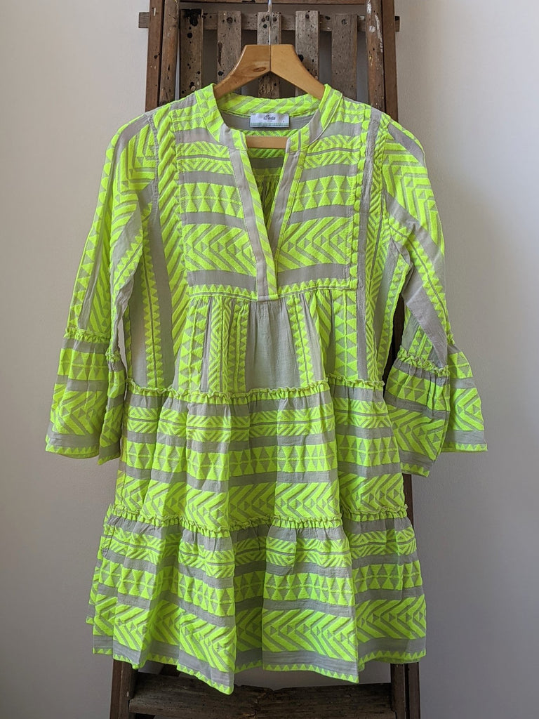 Ella Neon Lime Embroidered Dress by DEVOTION TWINS