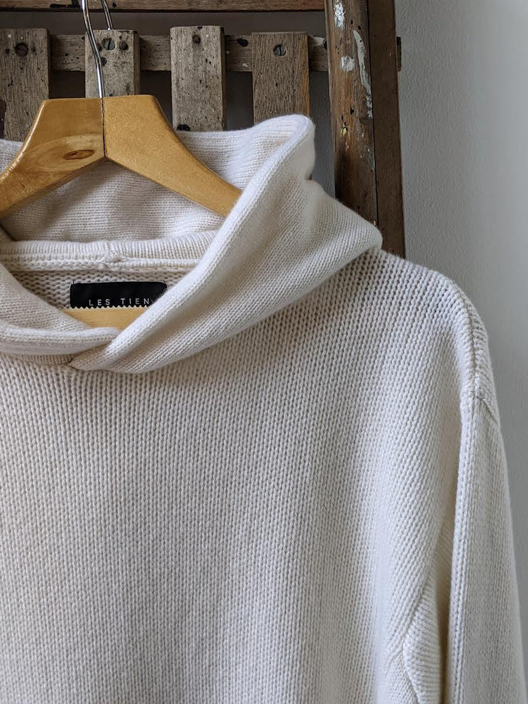 LES TIEN Ivory Cashmere Hooded Knit