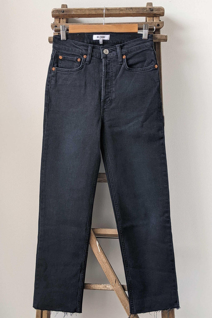 RE/DONE High-Rise Faded Black Stove Pipe Jeans