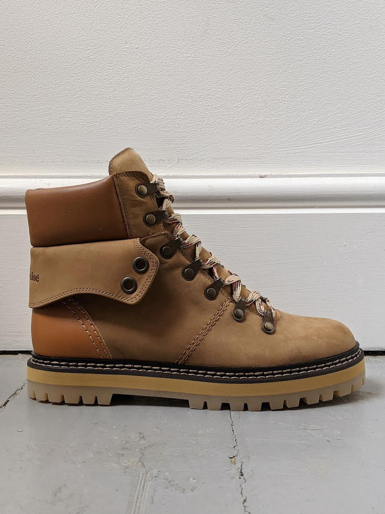 SEE BY CHLOE Eileen Taupe Suede & Leather Hiker Boots