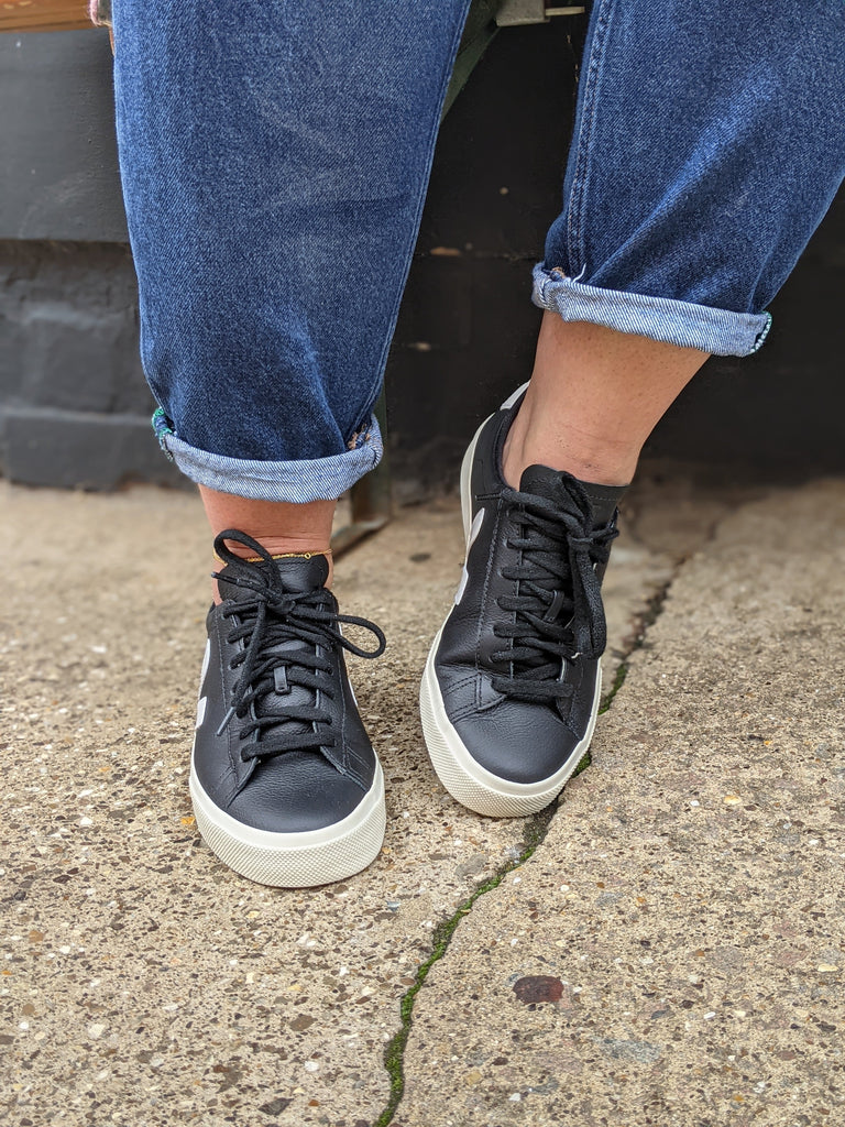 VEJA Campo Black Leather Sneakers