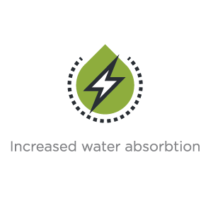 Increased Water Absorbtion