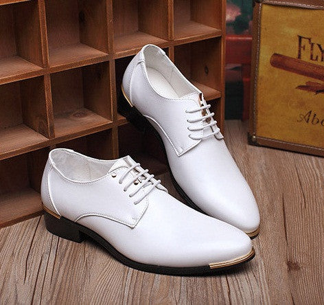 Leather Men Shoes Business Oxford available in 4 colors Blue/Black/White/Yellow
