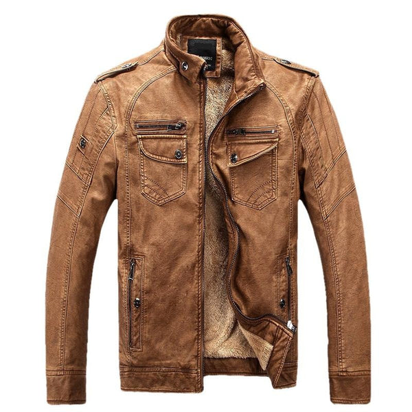 Mens Winter Leather Jacket available in 4 colors Blue/ Brown/ Yellow/ Black