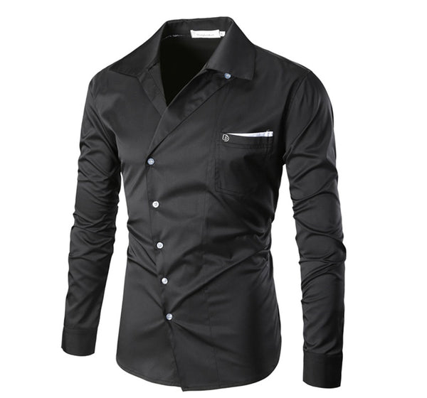 Men's shirt turn-down collar long sleeve 4 colors