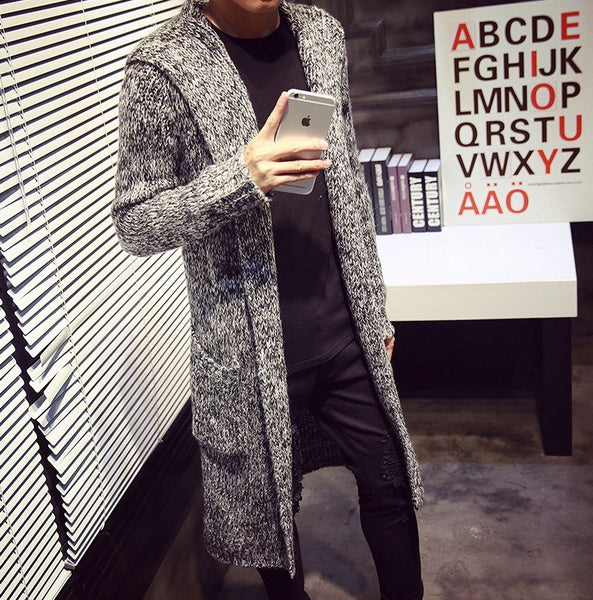 Autumn Winter Long Mens Cardigans available 3 colors khaki/light gray/red