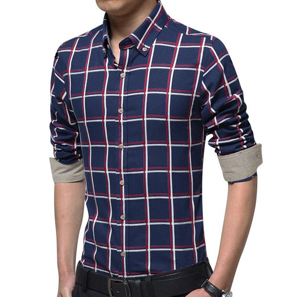 Plaid Shirt available 3 colors beige/gray/dark blue