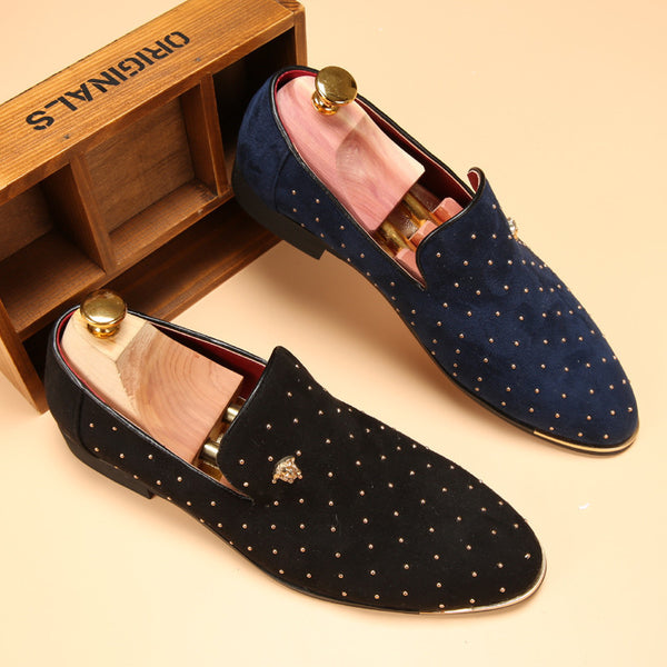 Shoes Fashion Leather Loafers available 2 colors Blue/Black