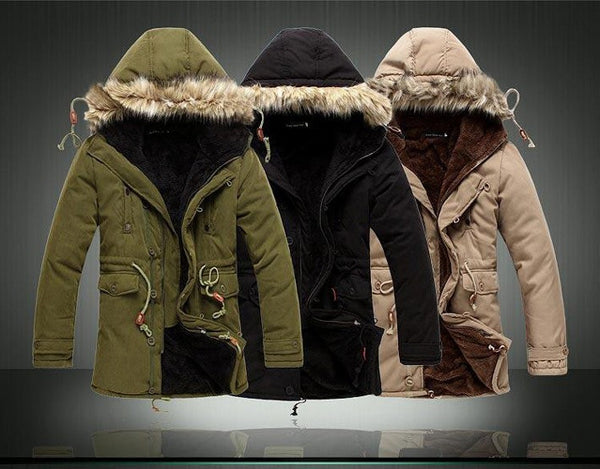 Men's Warm Jacket Winter available in 3 colors Khaki/ Black/ Army green