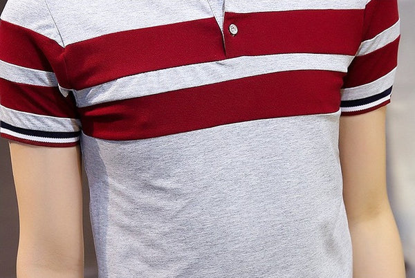 Polo Shirt Classic Striped available 3 colors white/dark blue/gray