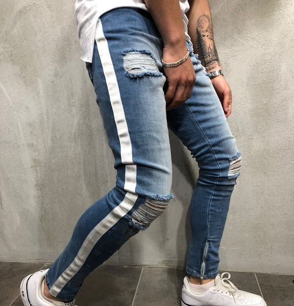 Men's ripped jeans with stripe