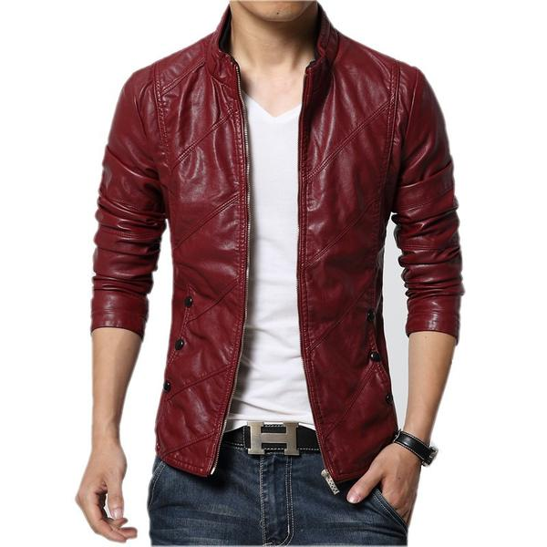 Leather Jacket Men Black Red Brown