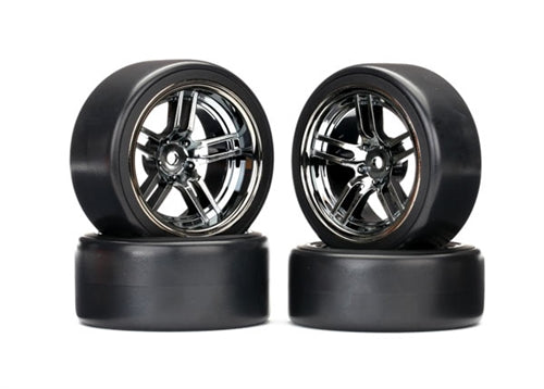 Traxxas Drift Tires and Wheels Front and Rear Set Black Chrome