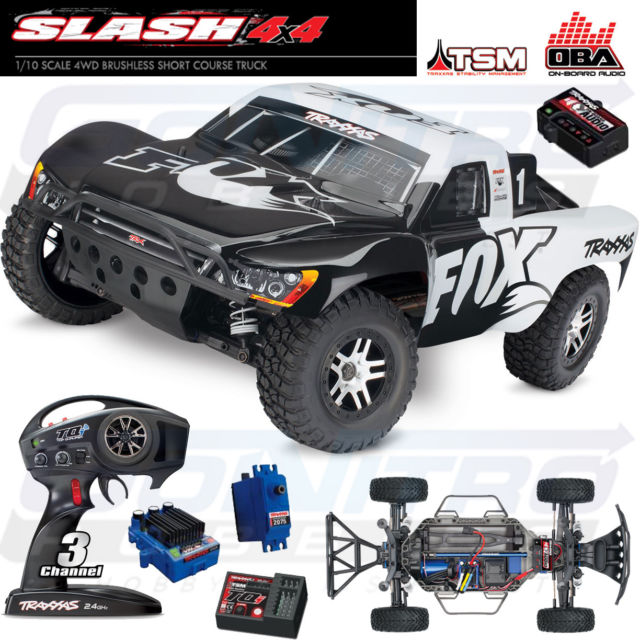 Traxxas Fox Slash 4x4 4wd TSM OBA Brushless Short Course Truck RTR