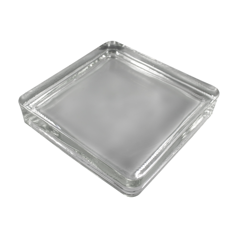 solid square glass paver clear