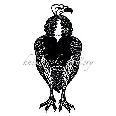 "#192 White Headed Vulture, woodcut, 1974, 9"" x 4"" (image size)"
