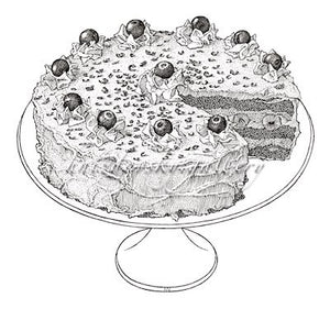 "Jacques Hnizdovsky, #d_bfc Black Forest Cake, pen and ink drawing, 1975,  12.5"" x 11.625"""