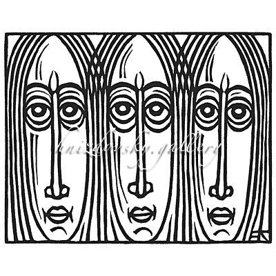 "Jacques Hnizdovsky, #014 Three Faces, linocut, 1951, 6"" x 7.375"" (image size)"