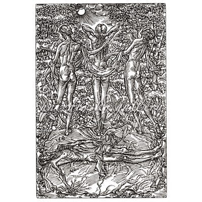 "Jacques Hnizdovsky, #000 Life and Death, woodcut, 1944, 14.125"" x 9.625"" (image size)"