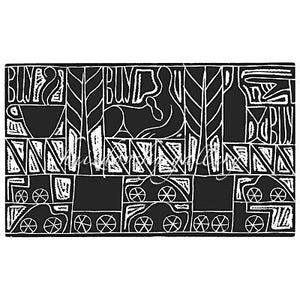 "Jacques Hnizdovsky, #012 Billboards, woodcut, 1951, 8.75"" x 14.125"" (image size)"